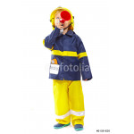 Little boy in fireman costume with megaphone 64239