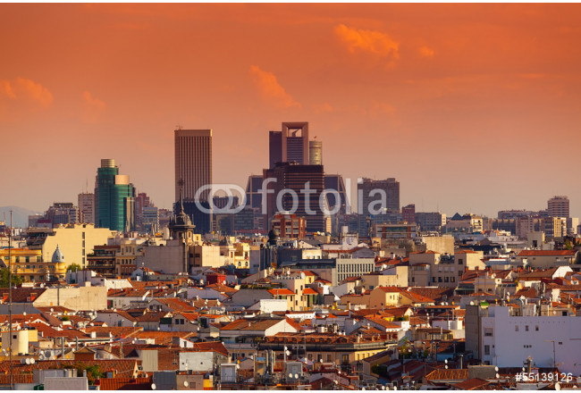 Madrid Skyline with skyscrapers at Sunset 64239