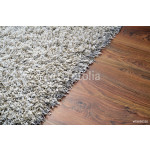 White shaggy carpet on brown wooden floor 64239