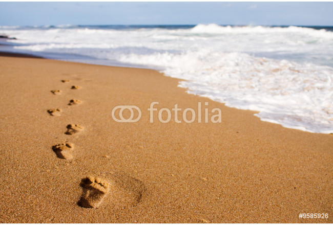 Painting Human footprints leading away from the viewer into the sea 64239