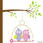 in love birds in a cage on a tree. vector 64239