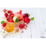 Apple, pomegranate and honey, traditional food of jewish New Year - Rosh Hashana. Copy space background 64239