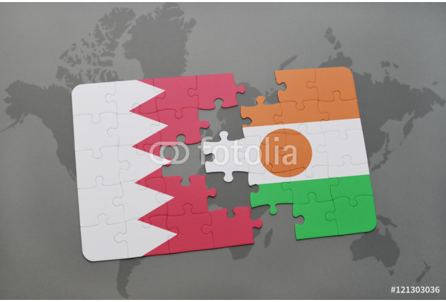 Bild auf Leinwand puzzle with the national flag of bahrain and niger on a world map background. 64239
