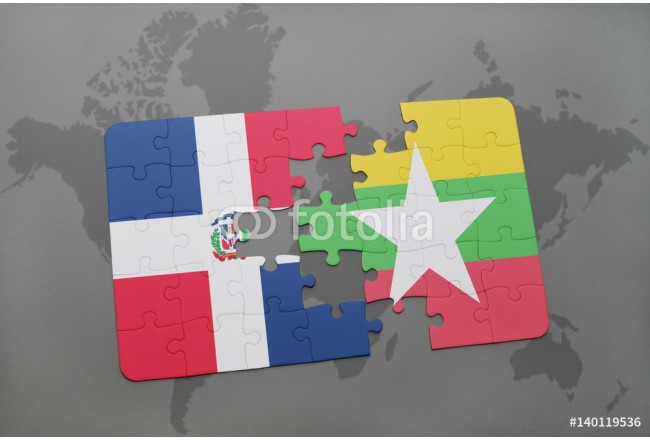 Bild auf Leinwand puzzle with the national flag of dominican republic and  myanmar on a world map