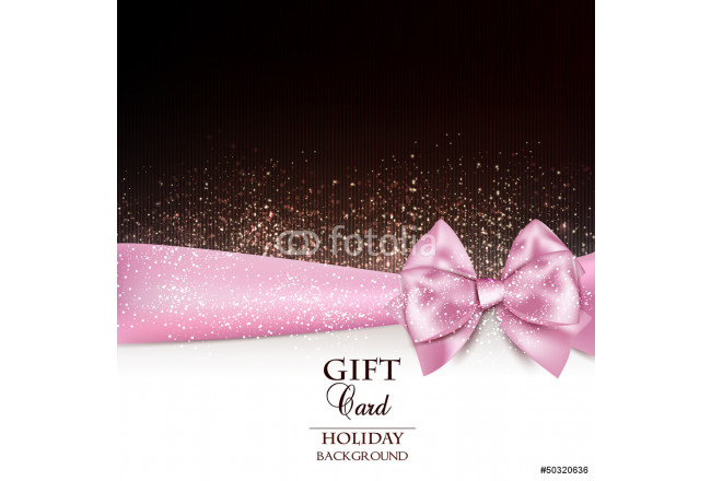 Gorgeous holiday background with pink bow and copy space. Vector 64239