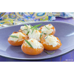 Baked apricots with mascarpone and almonds. 64239