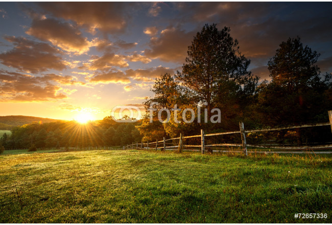 Picturesque landscape, fenced ranch at sunrise 64239