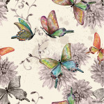 vintage seamless texture with of flying butterflies. watercolor 64239