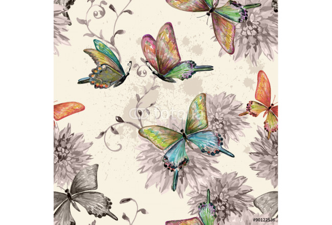 Quadro contemporaneo vintage seamless texture with of flying butterflies. watercolor 64239