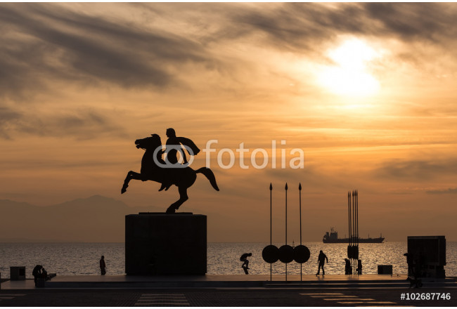 Silhouette of Alexander the Great Statue at sunrise. Thessalonik 64239