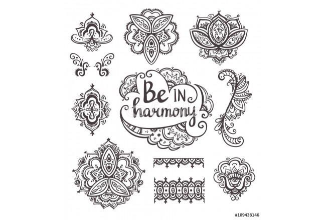 Set of Ornamental Boho Style flowers and elements. Vector illustration. 64239
