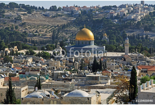 View of the city of Jerusalem, Temple Mount and Dome of the Rock from the top of the Jerusalem Citadel or Tower of David. 64239