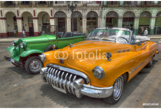 Painting Orange and green cars in front of Capitolio, Havana, Cuba 64239