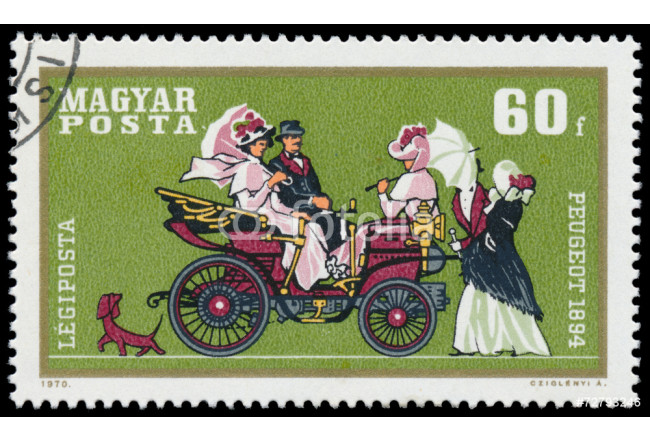 Toile déco Stamp printed by Hungary shows automobile Peugeot 64239