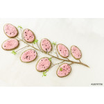 Homemade Easter cookies in shape of egg on white linen tablecloth. Vintage style background. 64239