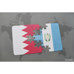 puzzle with the national flag of bahrain and guatemala on a world map background. 64239