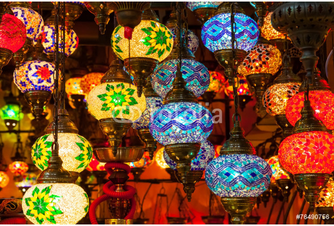 Multi-colored lamps hanging at the Grand Bazaar in Istanbul. 64239