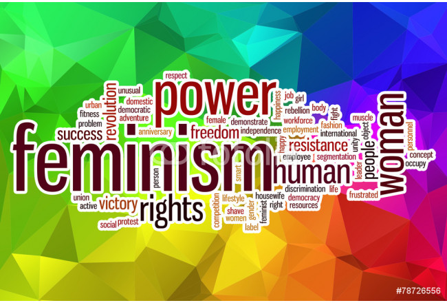 Feminism word cloud with abstract background 64239