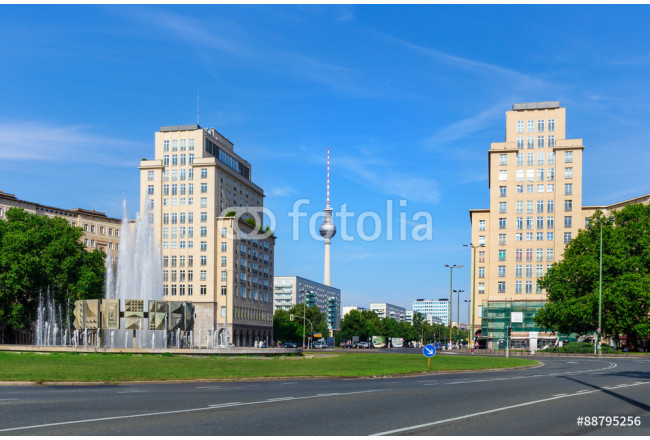 Karl-Marx-Allee in the Friedrichshain district with a view to the TV tower at Alexanderplatz, Berlin 64239
