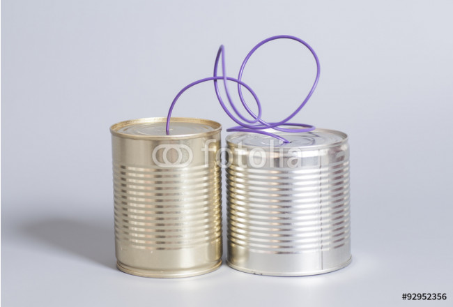 Obraz nowoczesny tin can phone.communication concept 64239