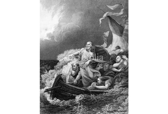 An engraved vintage illustration image of Jesus Christ calming the storm, from a Bible dated 1852 64239