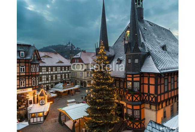 Wernigerode Weihnachtsmarkt.Bild Auf Leinwand Weihnachtsmarkt In Wernigerode
