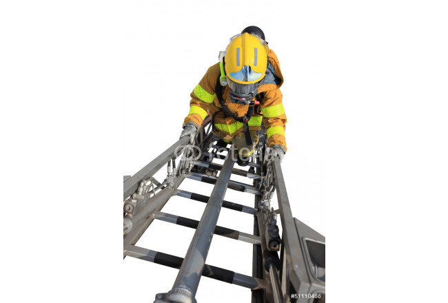 Firefighter ascends upon a one hundred foot ladder. 64239