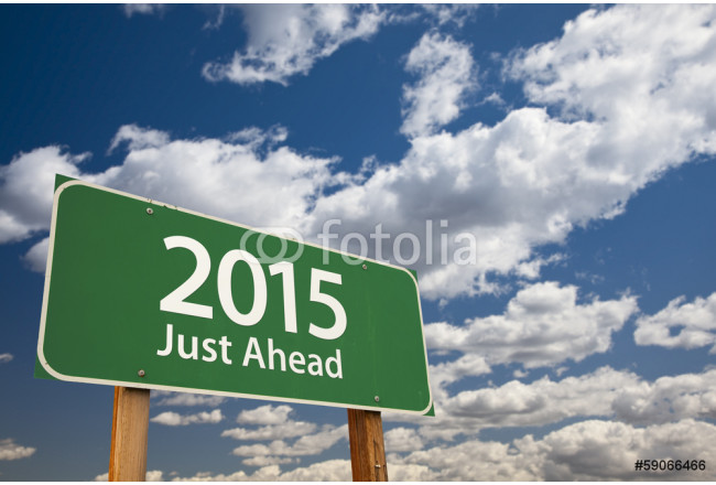 2015 Just Ahead Green Road Sign Over Clouds and Sky 64239