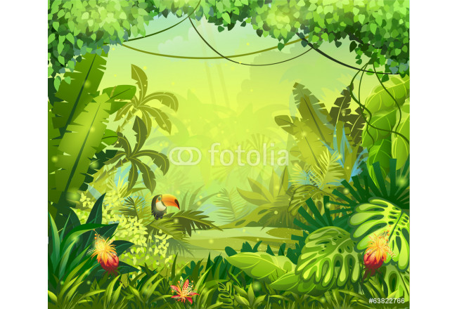 llustration with flowers and jungle toucan 64239