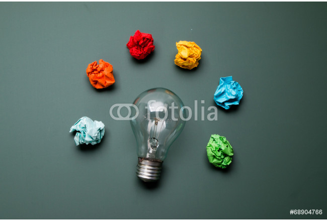 bulb with colorful crumpled paper 64239