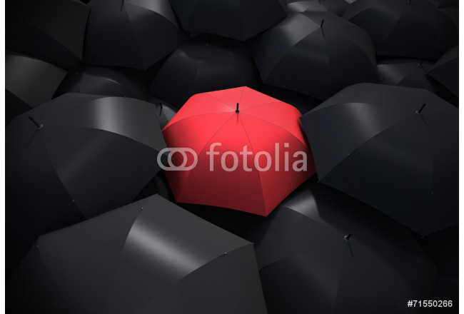 Red umbrella standing out from background of black umbrellas 64239