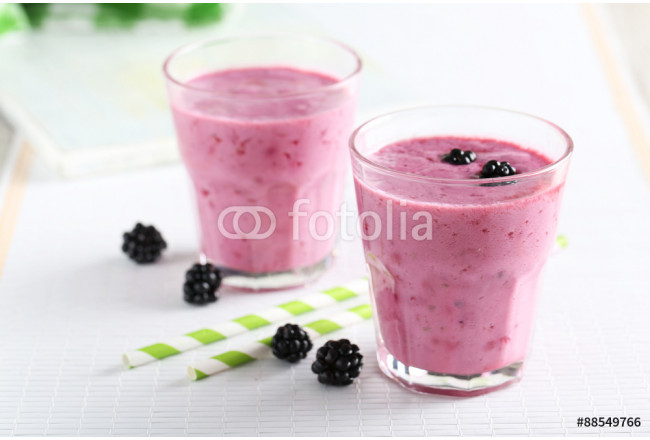 Blackberry smoothie in the glasses 64239