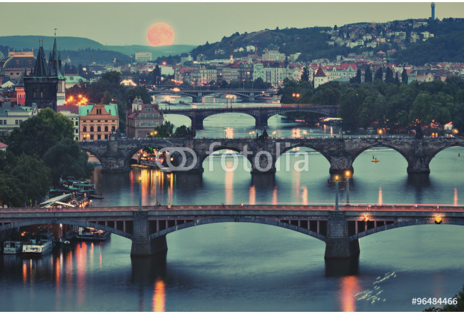 Prague cityscape and full moon 64239