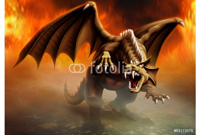 Art painting dragon attack 64239