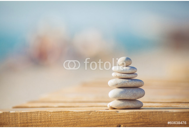 zen stones jy wooden banch on the beach near sea. Outdoor 64239