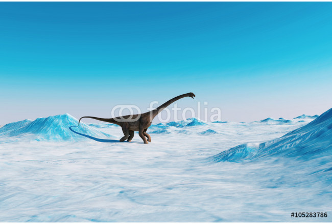 Dinosaur. Prehistoric snow landscape, ice valley with Dinosaurs. Arctic view 64239