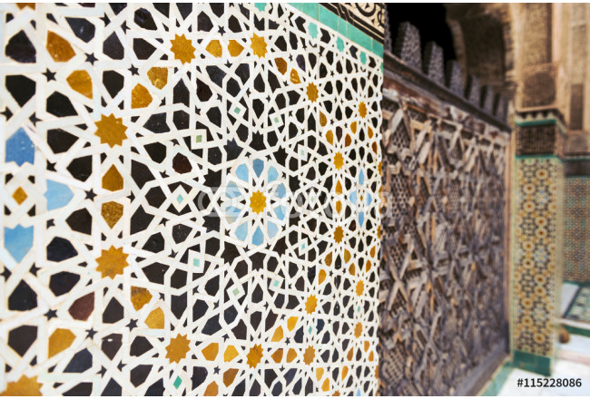 Detail of a wall ornamented with tiles in the Madrasa Bou Inania, in Fez, Morocco 64239