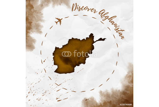 Kunstdruck Afghanistan watercolor map in sepia colors. Discover ...