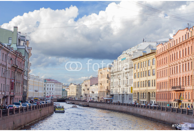 River channel with boats in Saint-Petersburg. Summer 64239