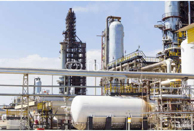 White tank on background refinery 64239