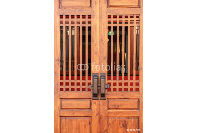 Brown color door made from wood in chinese style 64239