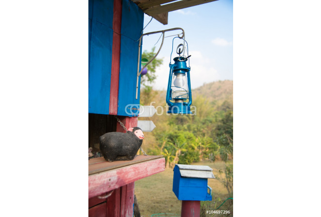 old metal lantern suspended with mountain background 64239