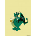 Green dragon with beer.Isolated vector illustration 64239