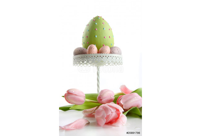 Large easter egg with pink tulips 64239