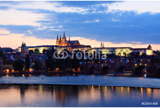View on Prague with gothic Castle after Sunset 64239
