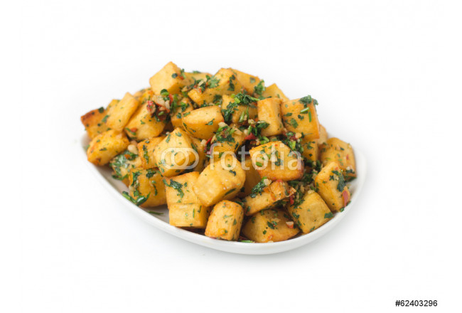 Spicy potato cut in cubes and fried, lebanese cuisine 64239