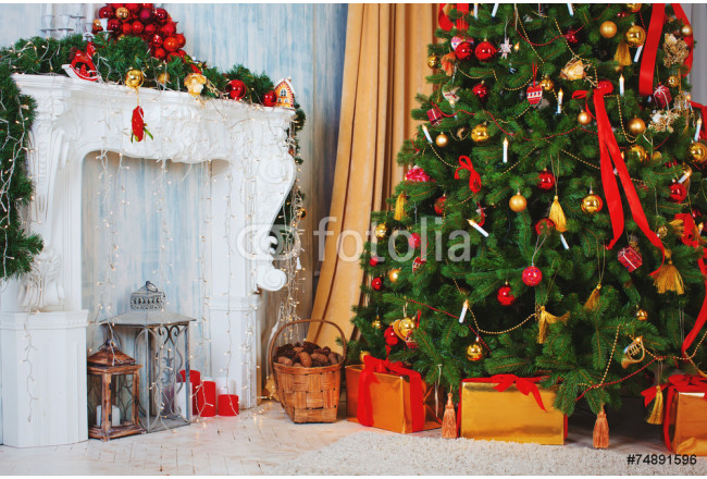 Christmas tree with fireplace, Christmas holiday and New Year. 64239