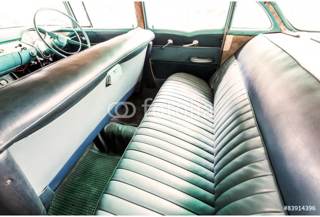Interior of a classic vintage old car 64239