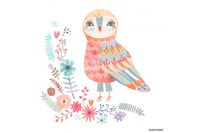 Watercolor floral background with a beautiful owl 64239