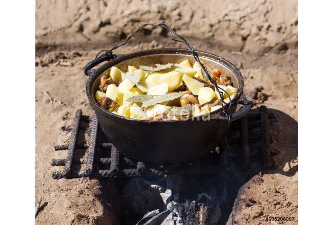 meat with potatoes in a cauldron on fire 64239